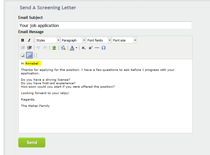 Sending a screening letter to job applicants au pair ireland blog you can further customise the screening letter for the intended recipient by editing it on that page to for example add their name or other personal spiritdancerdesigns Gallery